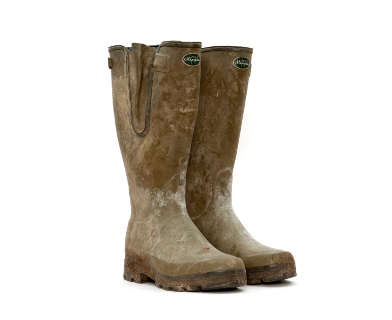 Founder of Glastonbury Festival, Michael Eavis' green wellies