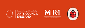 Arts Council England logo, Museums Partnership Reading logo and Ladybird Books logo on an orange background