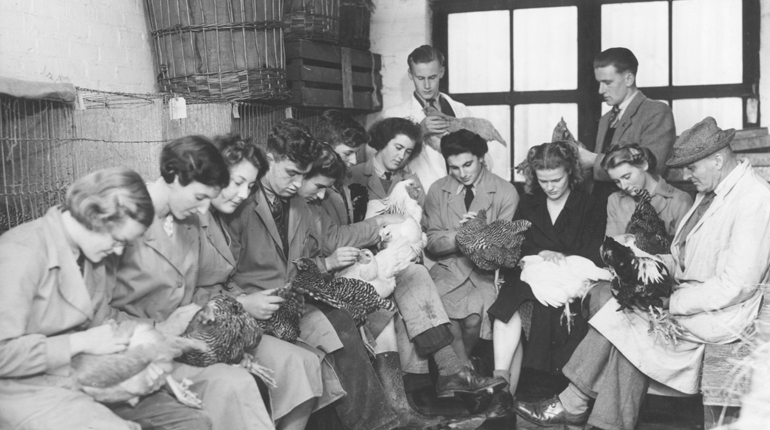 Black and white photo of women holding chickens